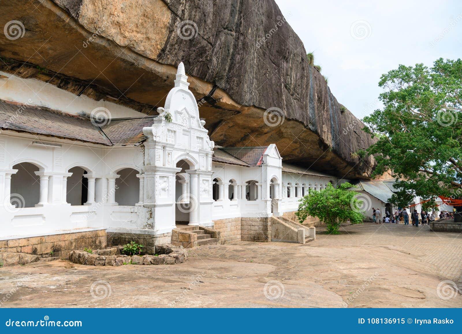Dambulla golden temple cave complex buildinds is destination for