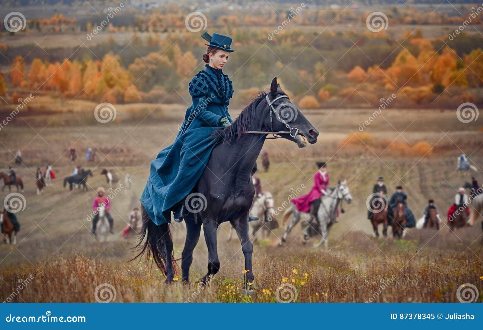 Dame bij paard-Jaagt