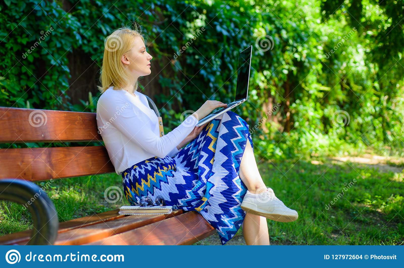 Dame die freelancer in park werken De verre banen doorbladeren hoogste freelance verre het werkkansen Vrouw met laptop de werken