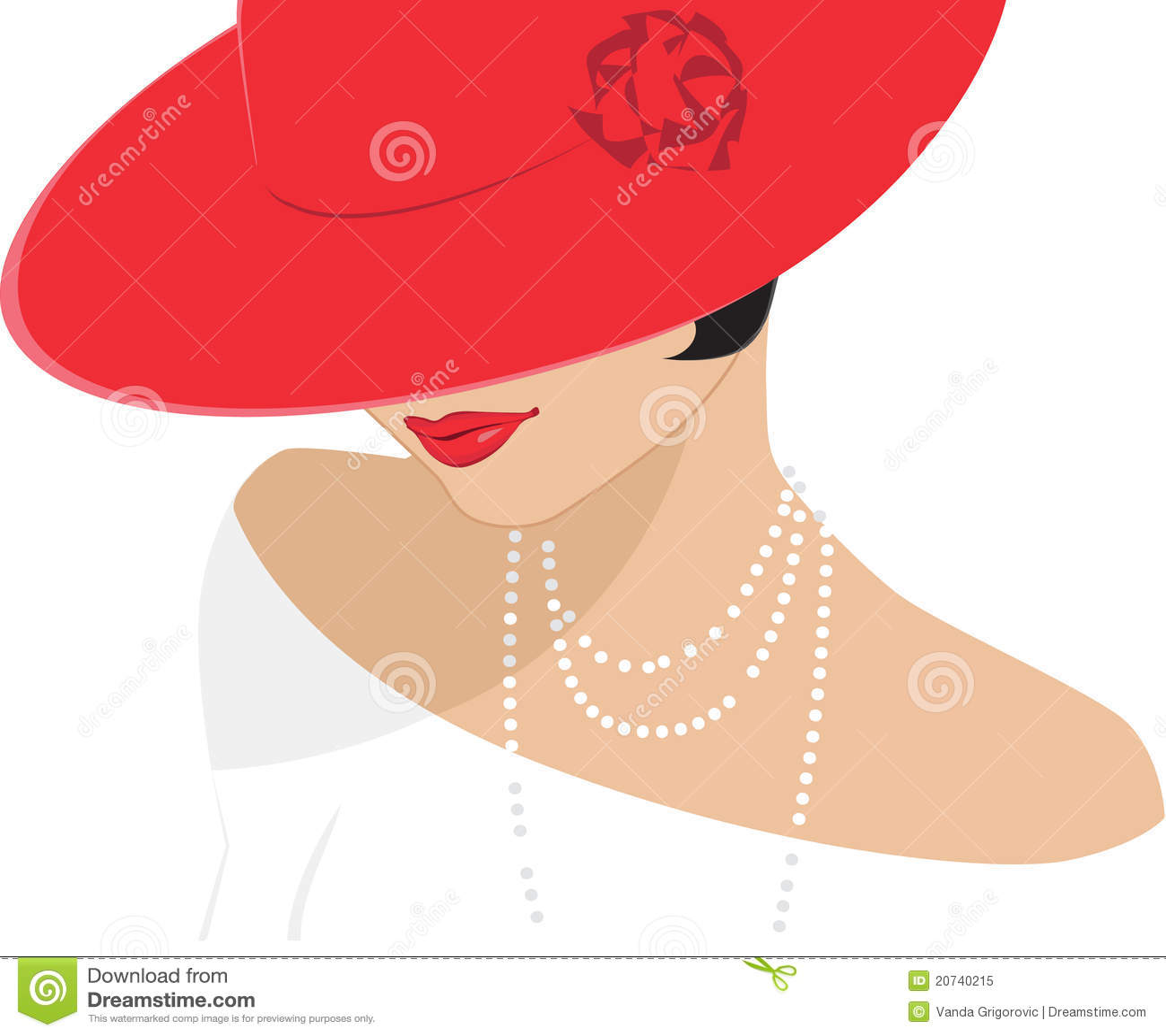 Dame in roten klassischen Akten
