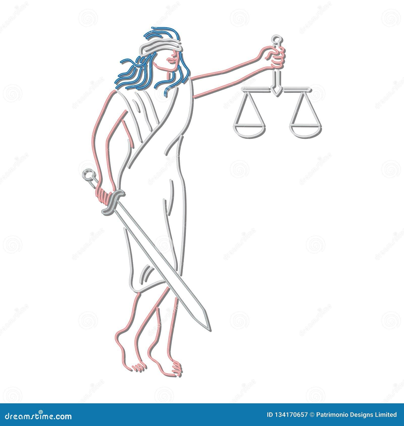 Dame Justice Holding Sword und Balancen-Leuchtreklame