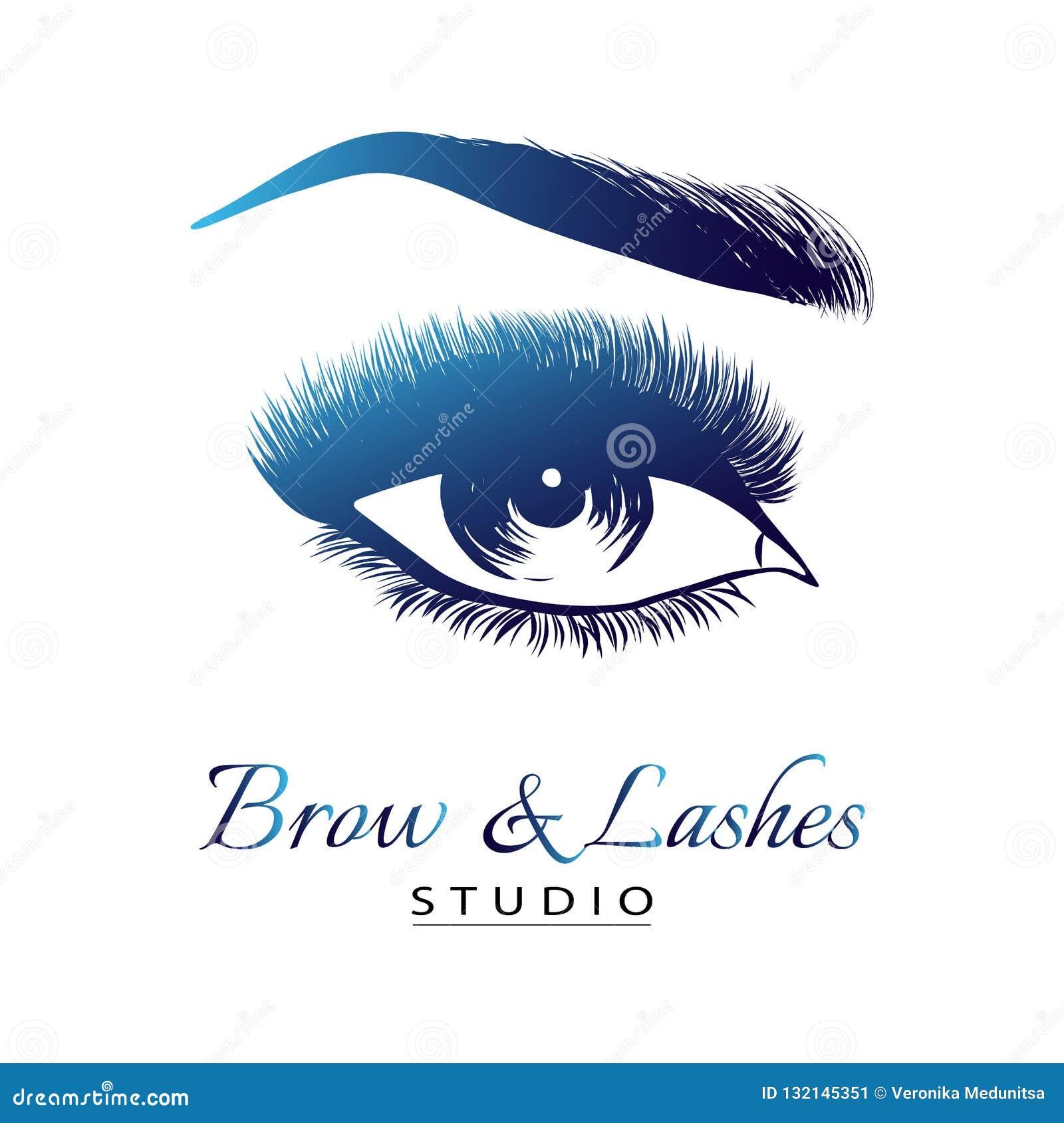 Dame modieus oog en brows met volledige zwepen