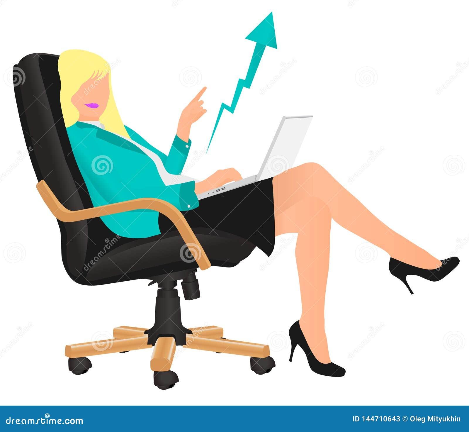Dame r?ussie d affaires de vecteur montrant le b?n?fice se reposant sur la chaise du directeur Excité par succès de société, déve