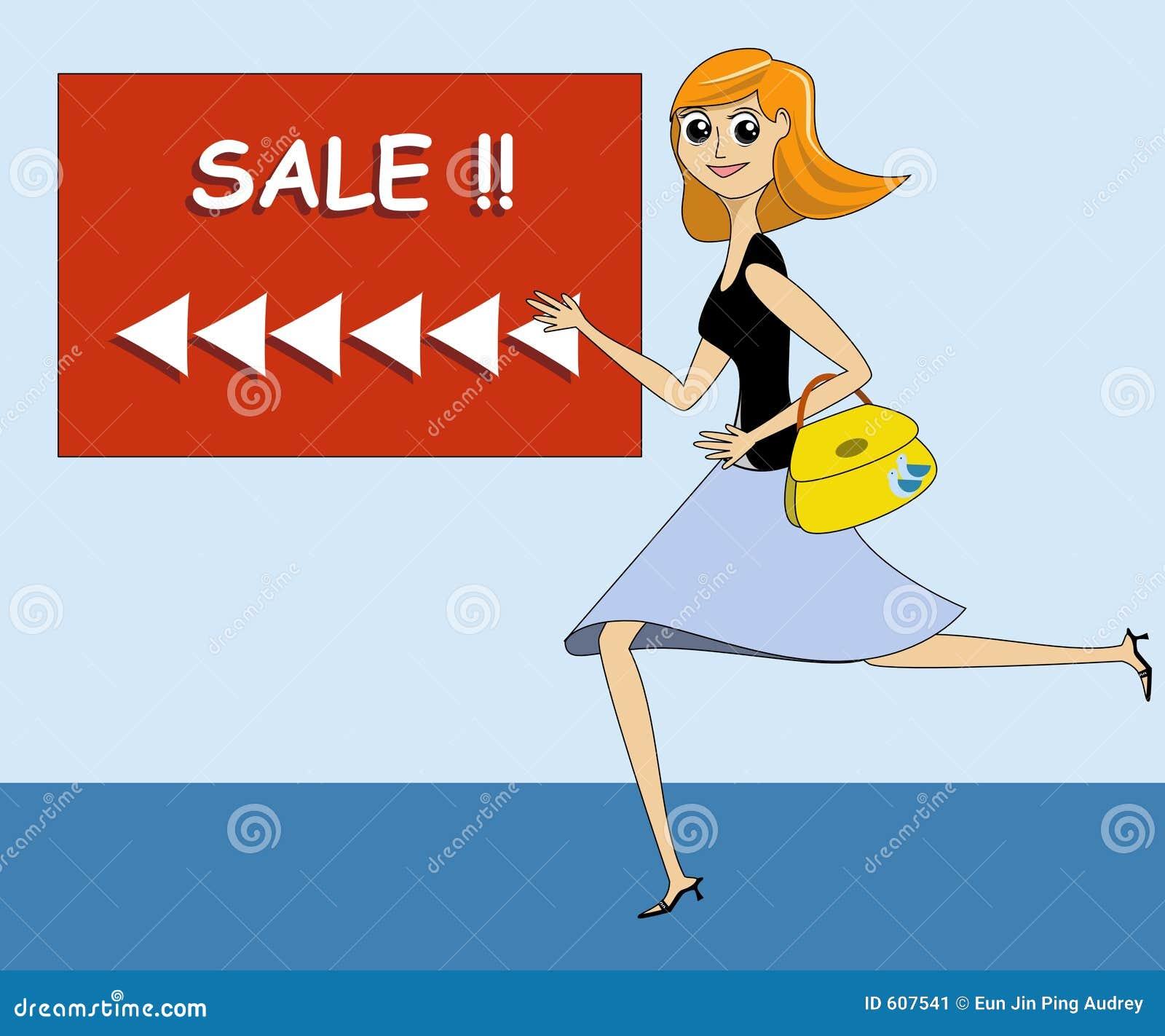Dame Running naar een Verkoop