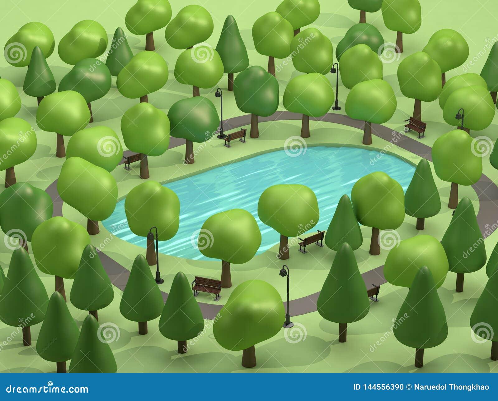 Dammet för den bästa sikten i grönt parkerar och många träd låg poly 3d för att framföra tecknad filmstil