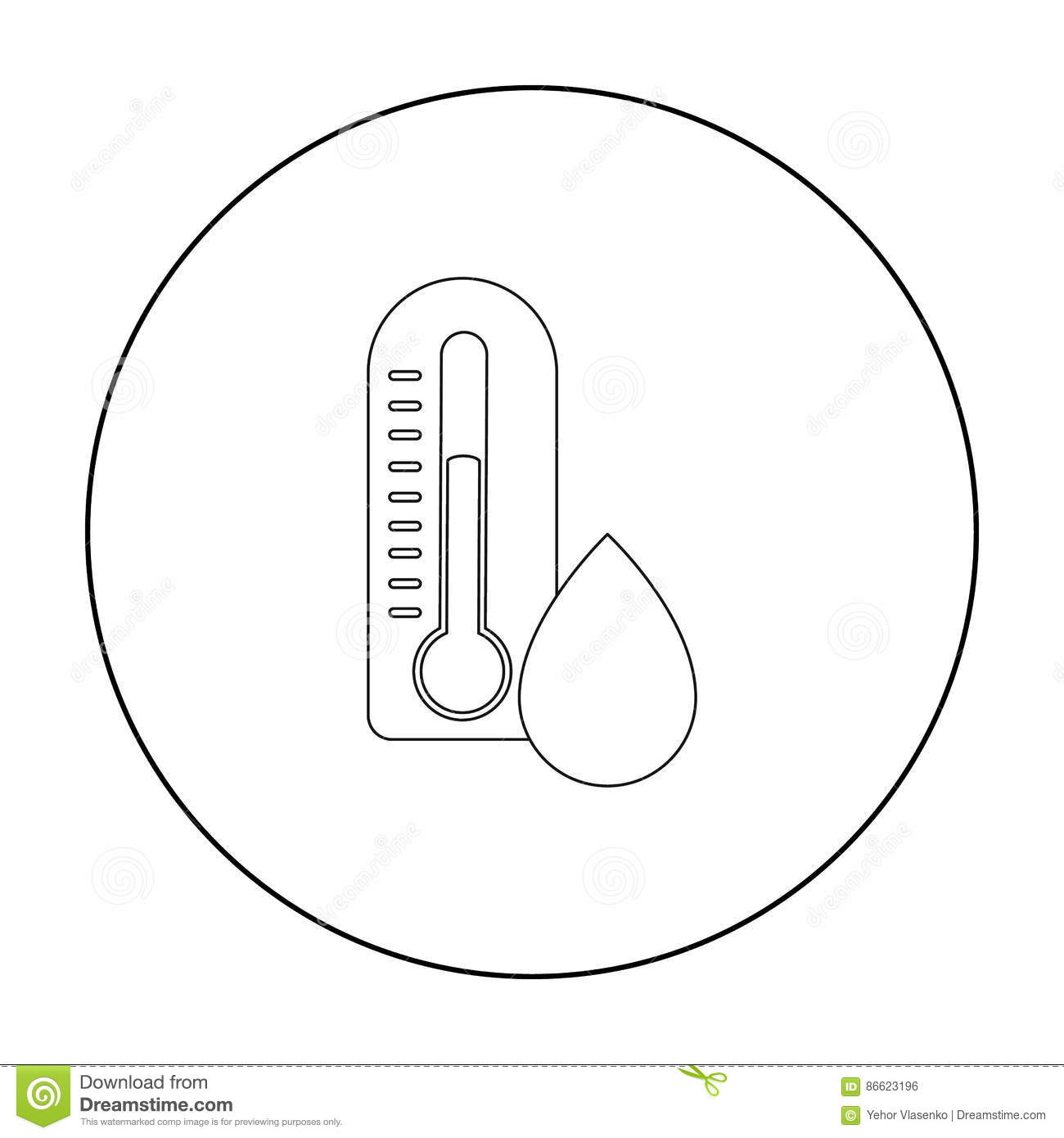 Damp day icon in outline style isolated on white background. Weather symbol stock vector illustration.
