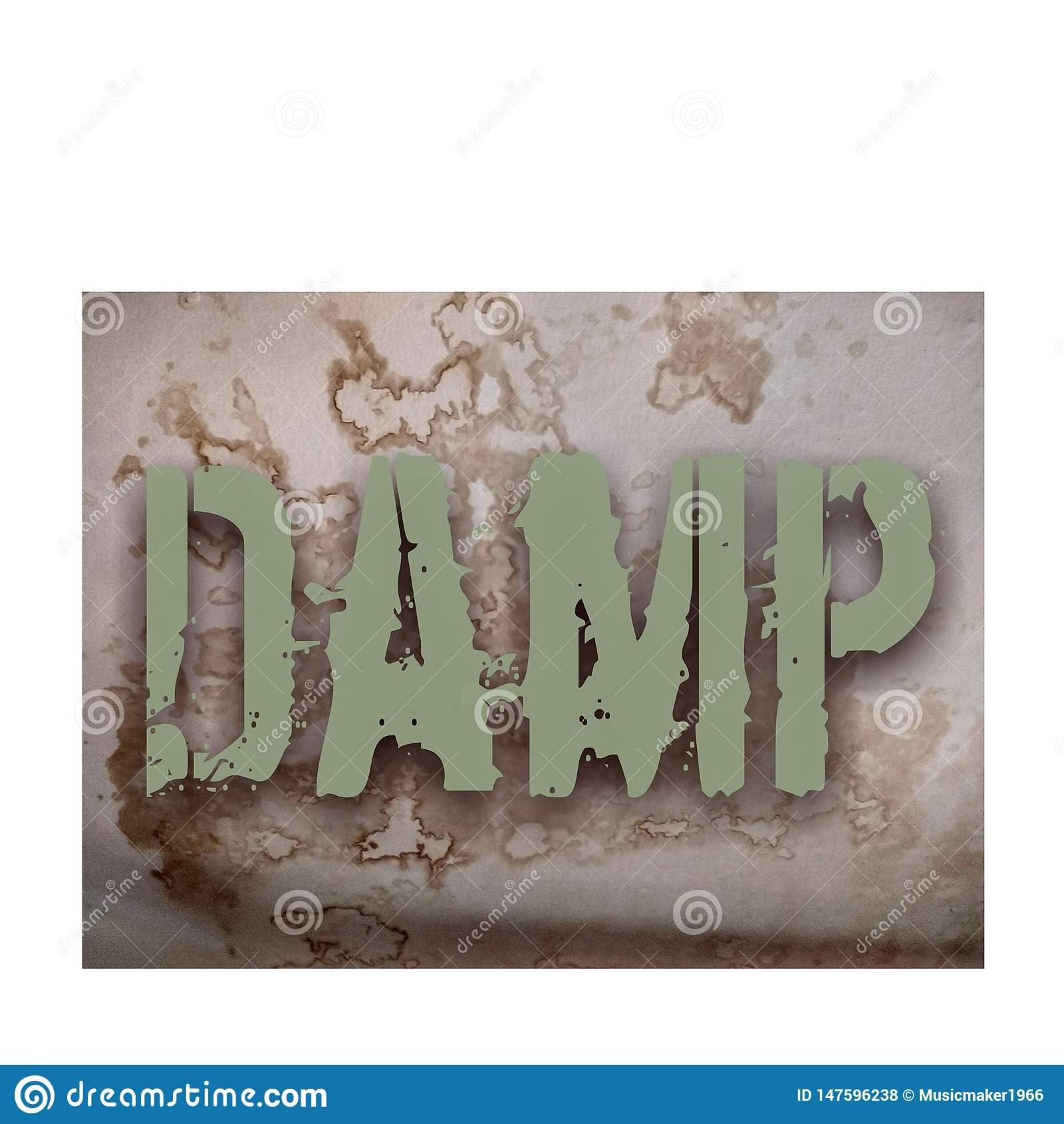 Damp patch background & damp word