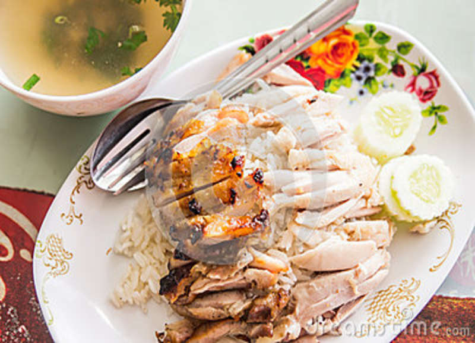 Dampf-Huhn mit Reis
