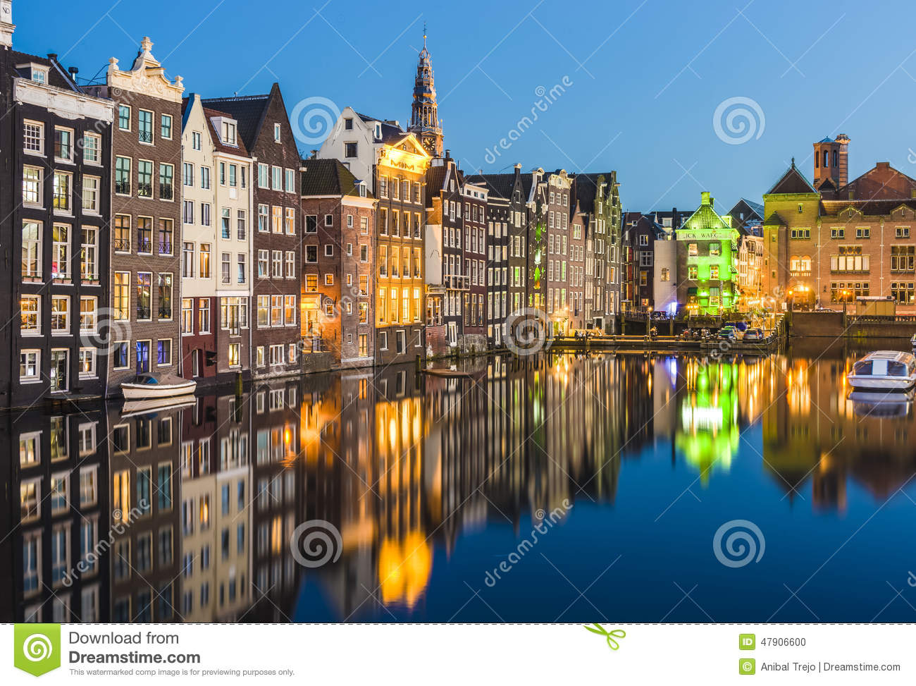 The Damrak Canal In Amsterdam, Netherlands. Stock Photo ...