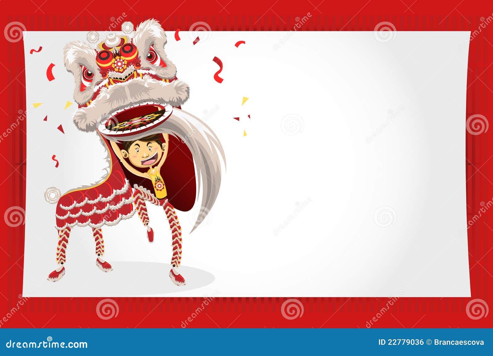 Dança chinesa do leão do cartão do ano novo
