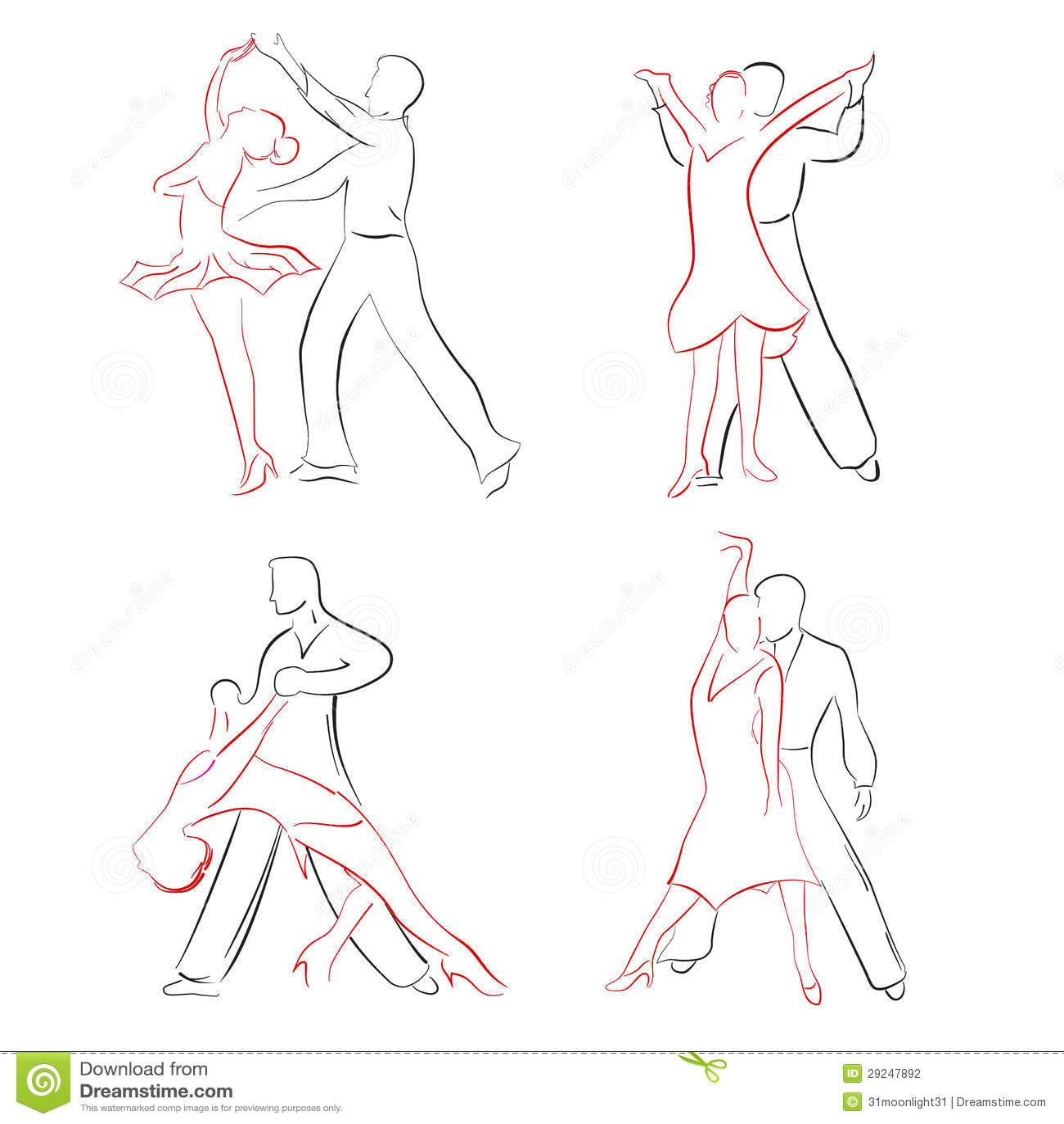 Download Dança de salão de baile ilustração do vetor. Ilustração de desenho - 29247892
