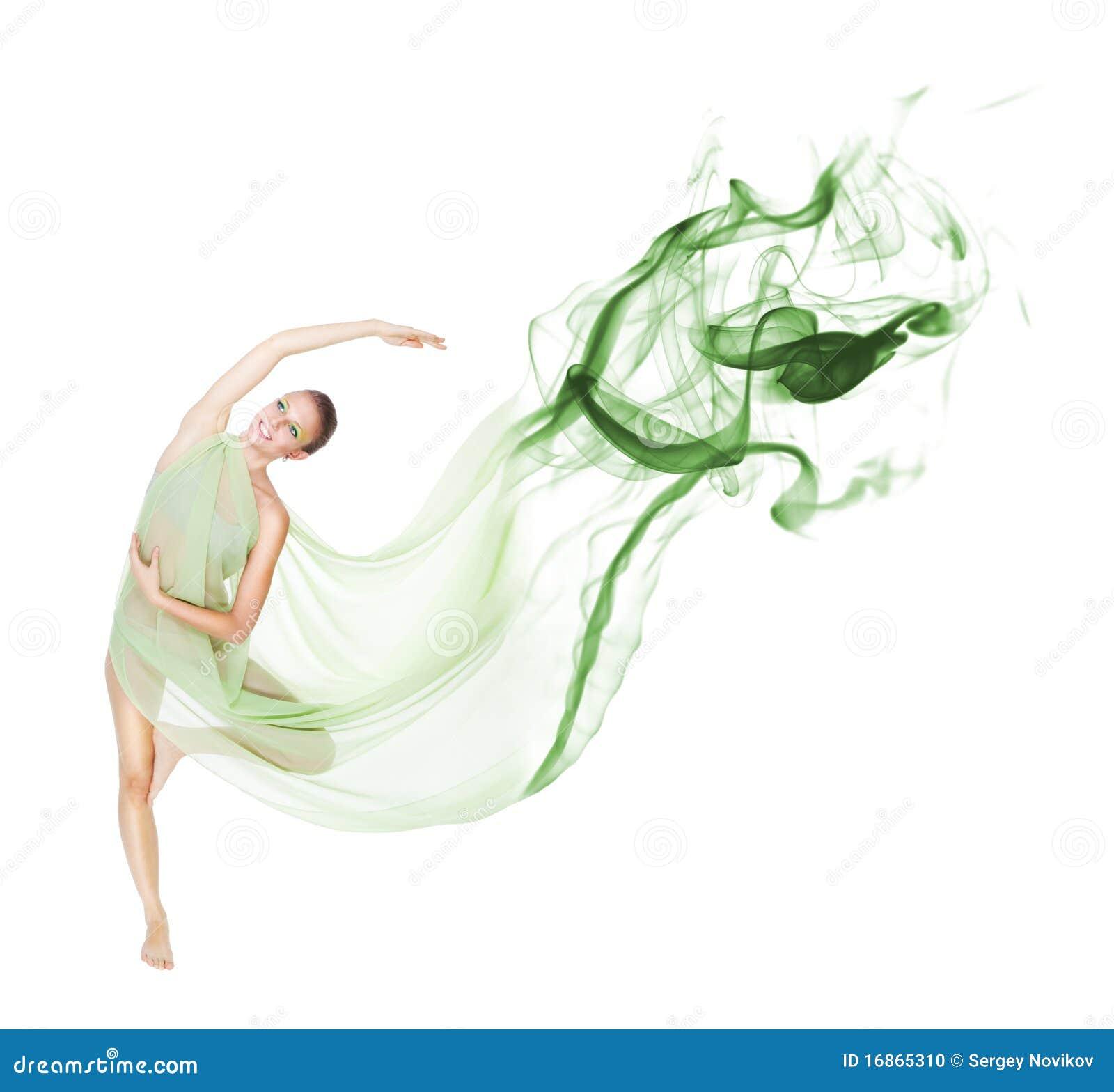 Dança no movimento com tela do vôo