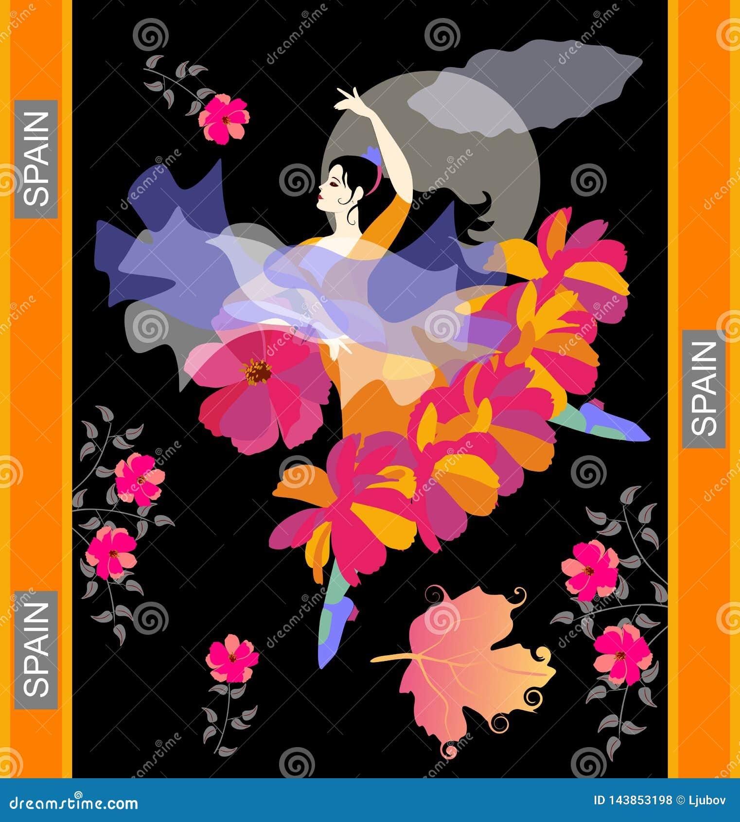 Dançarino do flamenco em danças nacionais espanholas do vestido com o xaile no formulário do pássaro de voo e do fã flor-dado for