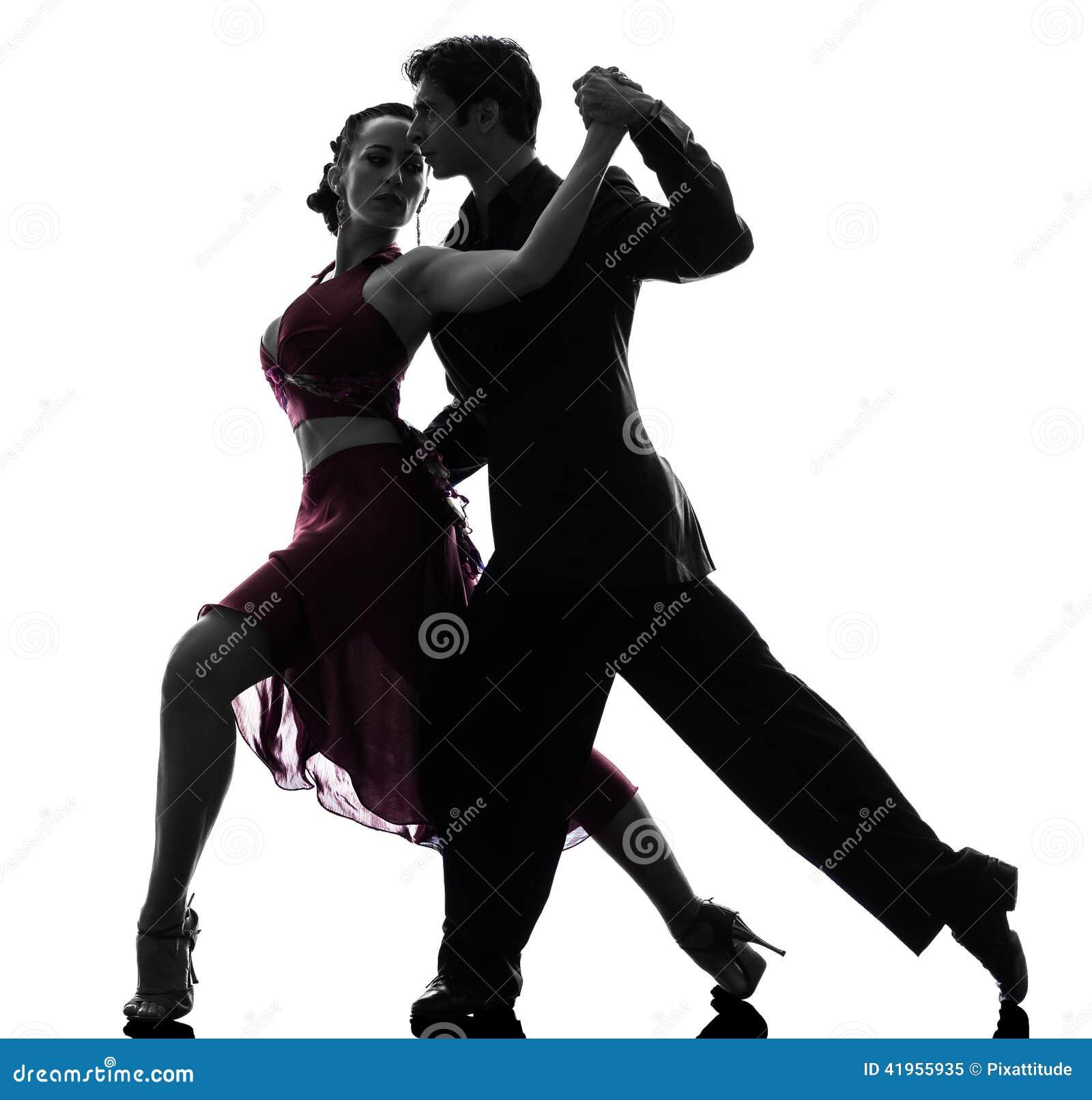 Dançarinos do salão de baile da mulher do homem dos pares que tangoing a silhueta