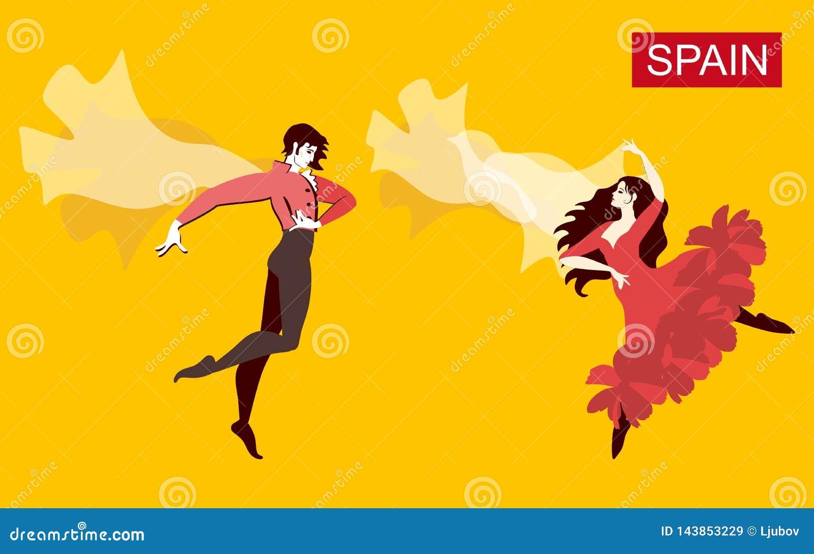 Dançarinos espanhóis do flamenco com casaco e manton na forma do pássaro de voo isolada no fundo amarelo Cartão bonito no vetor