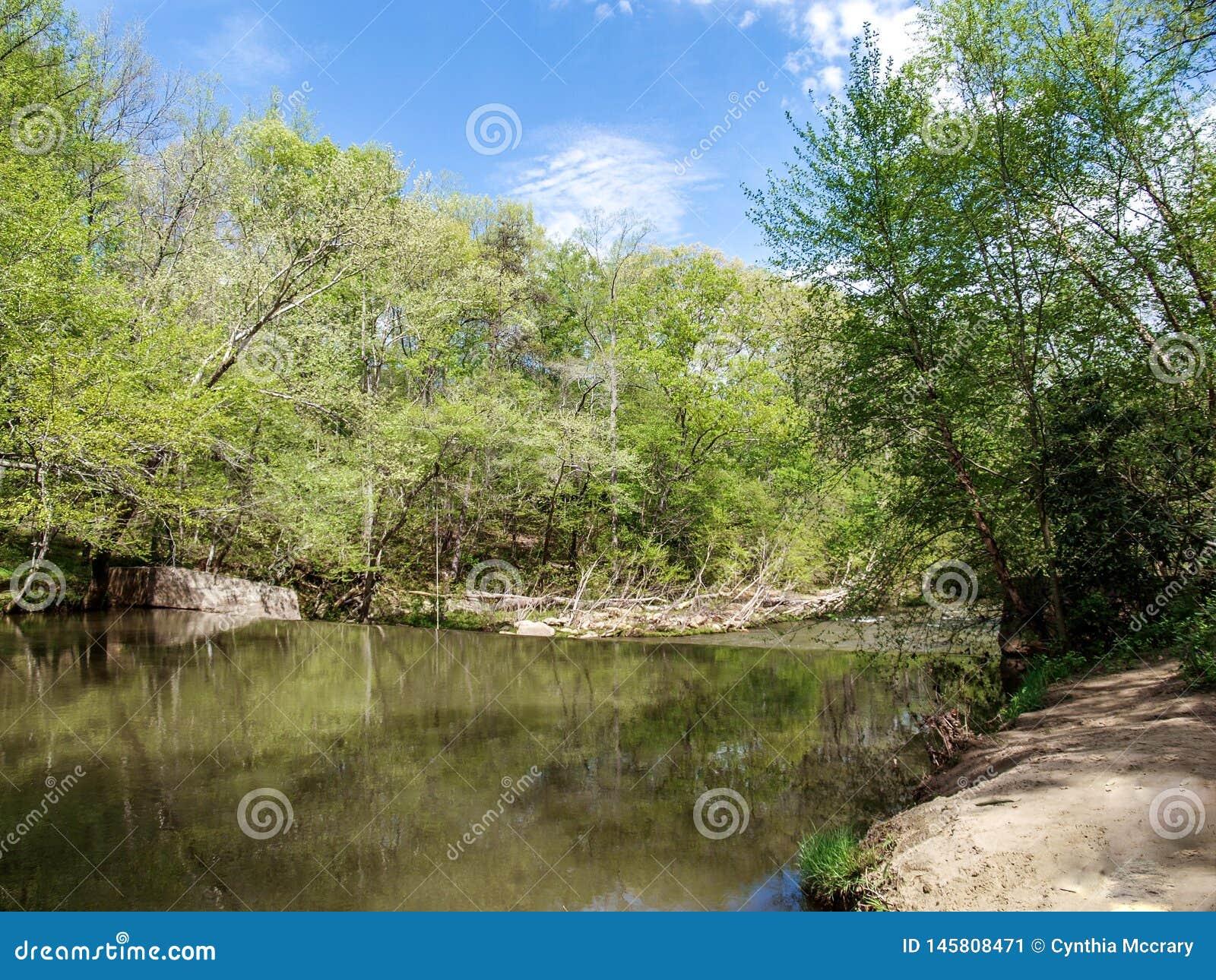Dan River Calm Water Above eine Verdammung
