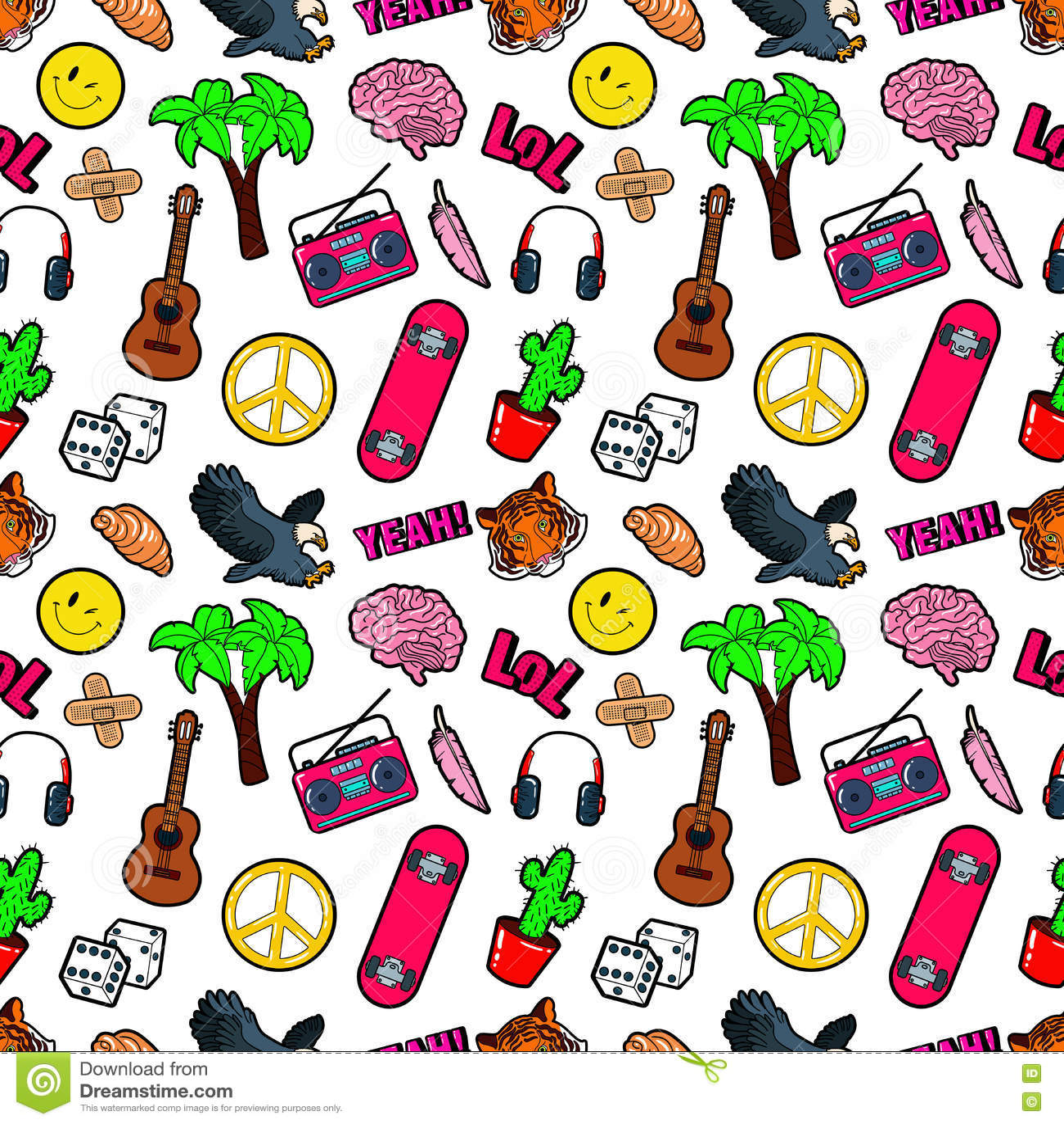 Dana sömlös komisk stilbakgrund med hjärnan, Lol, kaktuns, gitarr och gömma i handflatan