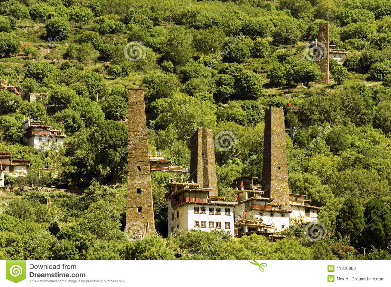 Danba, sichuan, china, towers and villages
