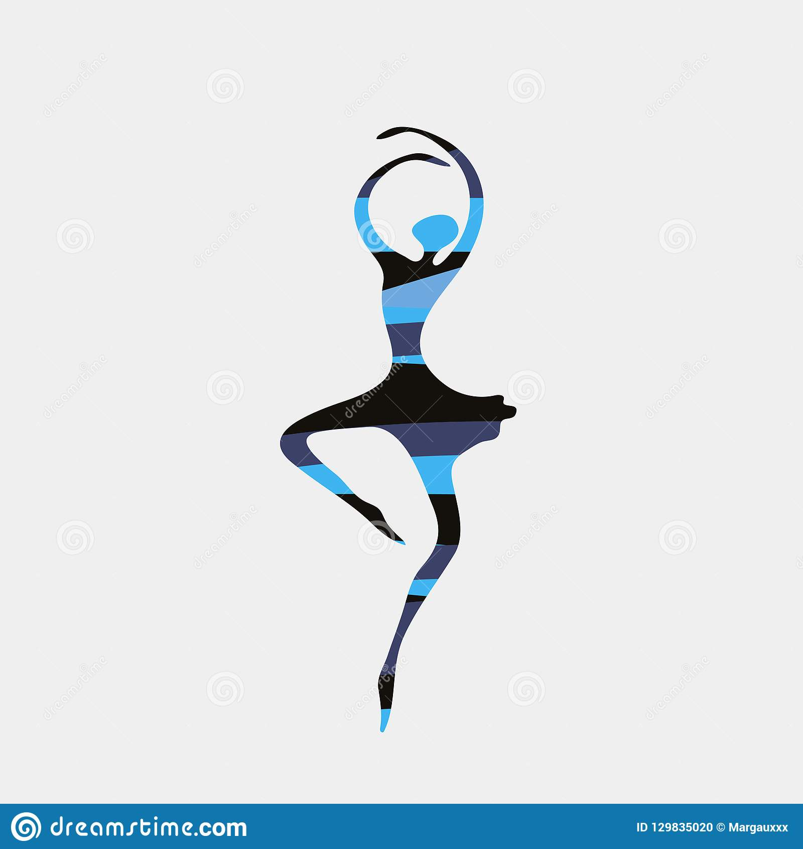 Dancer In Ballet Pose With Abstract Silhouette Pattern Logo Symbol Stock Illustration Illustration Of Pose Geometric 129835020