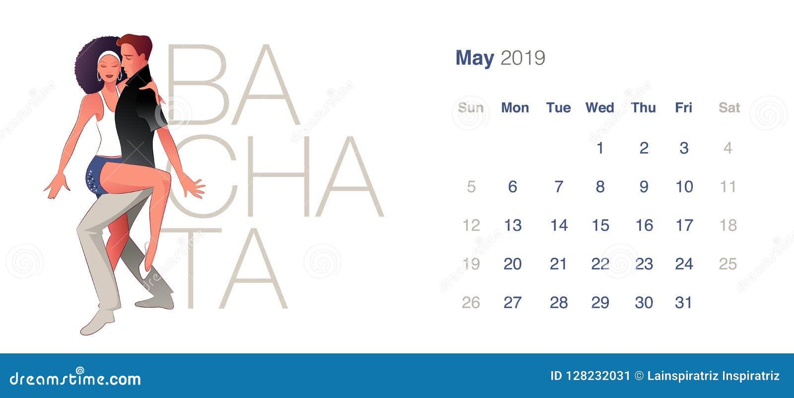 2019 Dance Calendar. May. Young couple dancing sensual Bachata