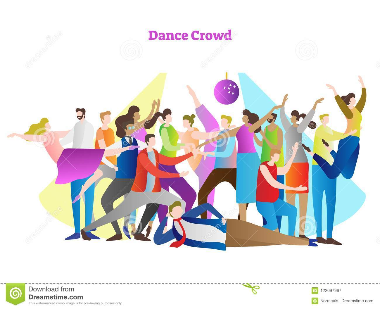 Dance crowd vector illustration. Adult friends and couples enjoying life, club, celebration and active entertainment.