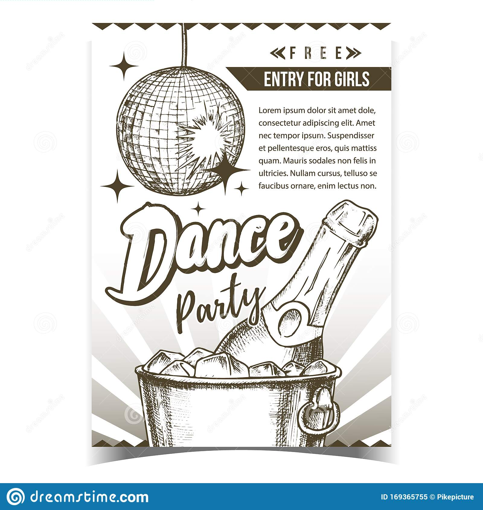 Dance Party With Alcohol Advertising Poster Vector Stock ...