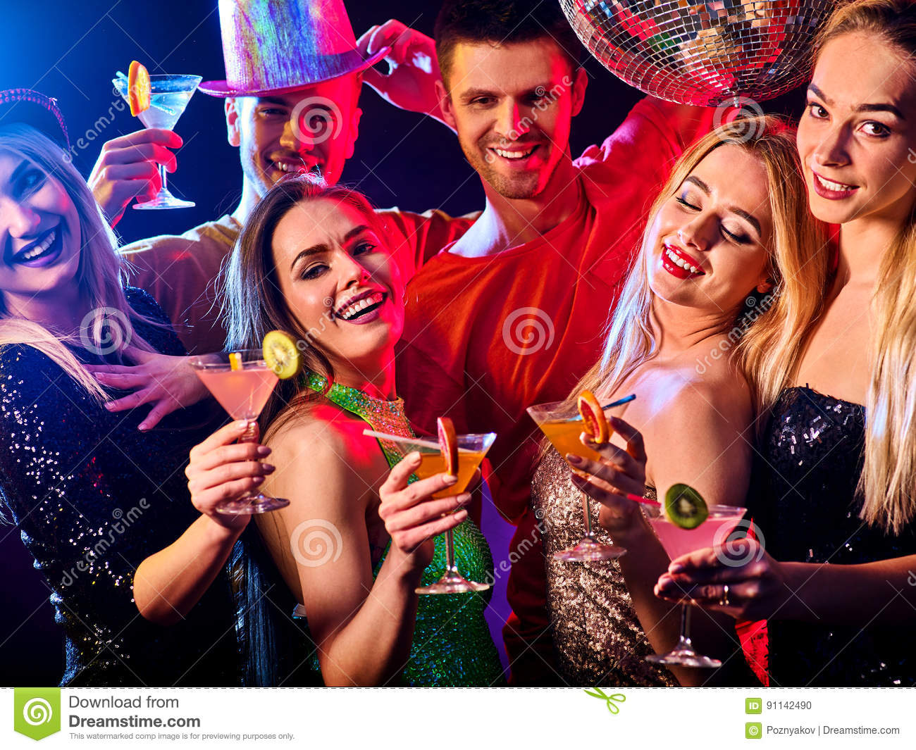 Download Dance Party With Group People Dancing And Disco Ball. Stock Photo - Image of drink, glass: 91142490