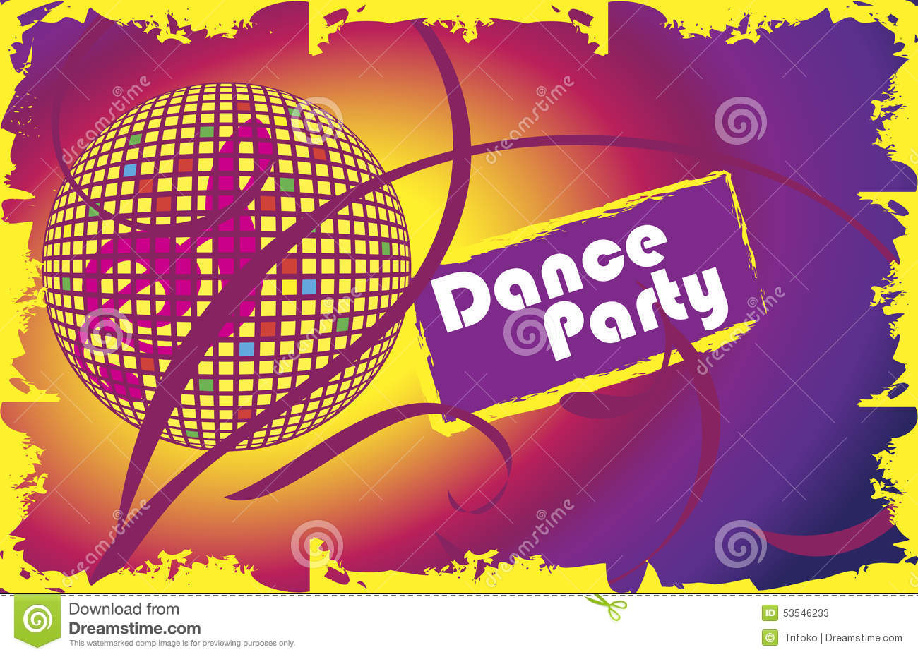 dance party invitation card  stock vector