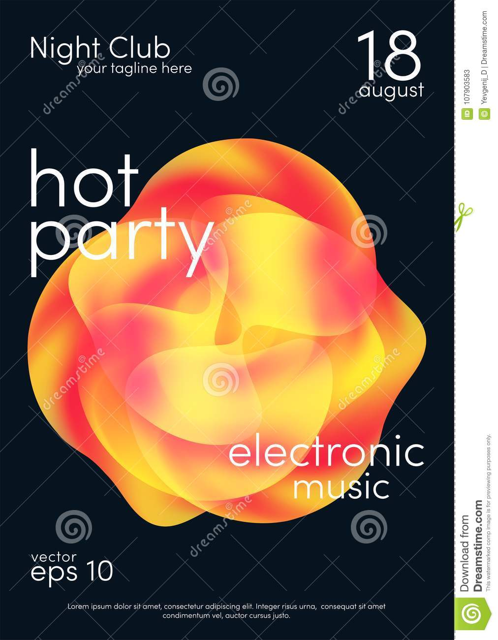 Trendy Poster Designs: Dance Party Poster. Music Poster Background Template With