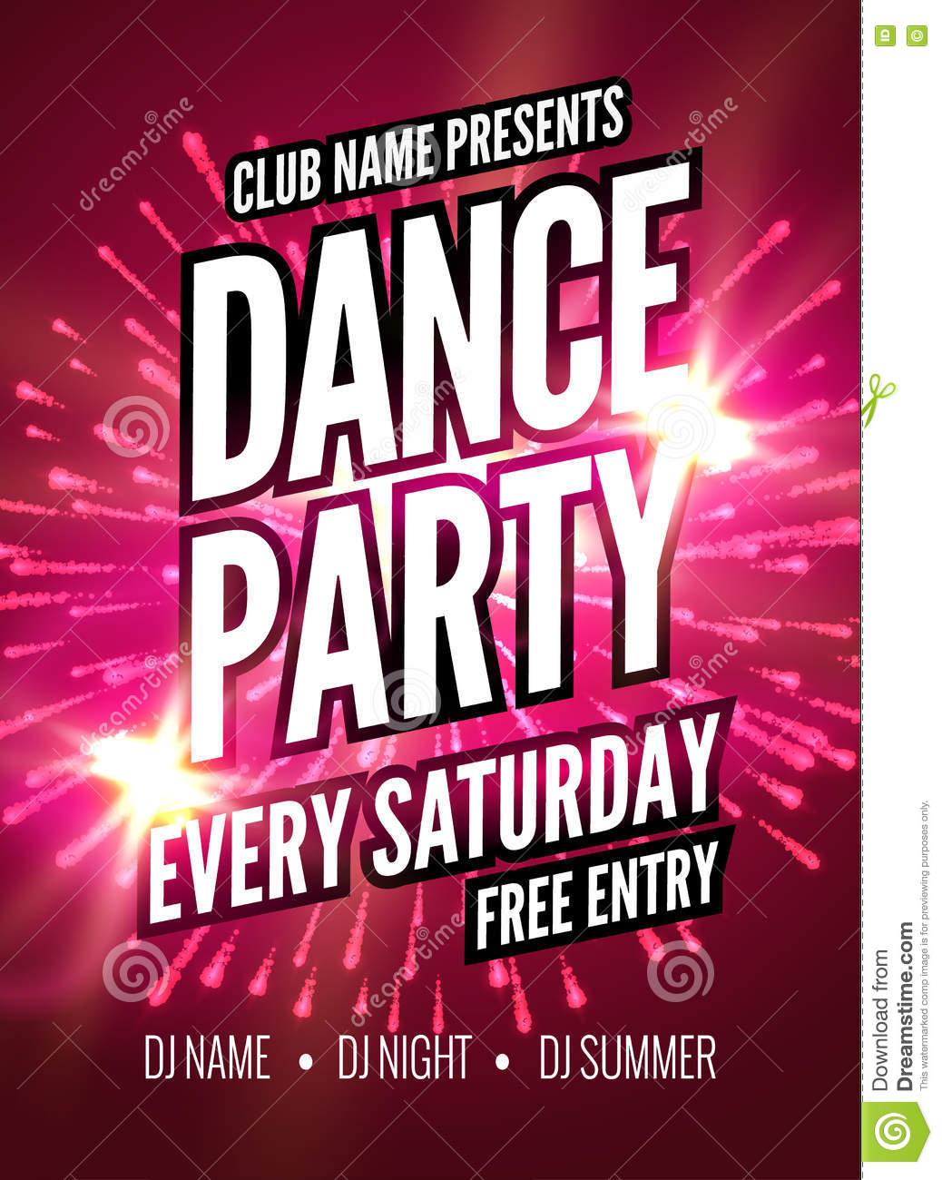 Free Event Poster Template | Dance Party Poster Template Night Dance Party Flyer Club Party