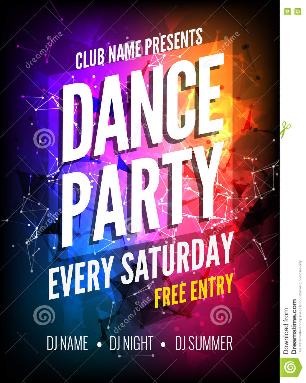 Dance Party Poster Template. Night Dance Party Flyer. Club Party ...