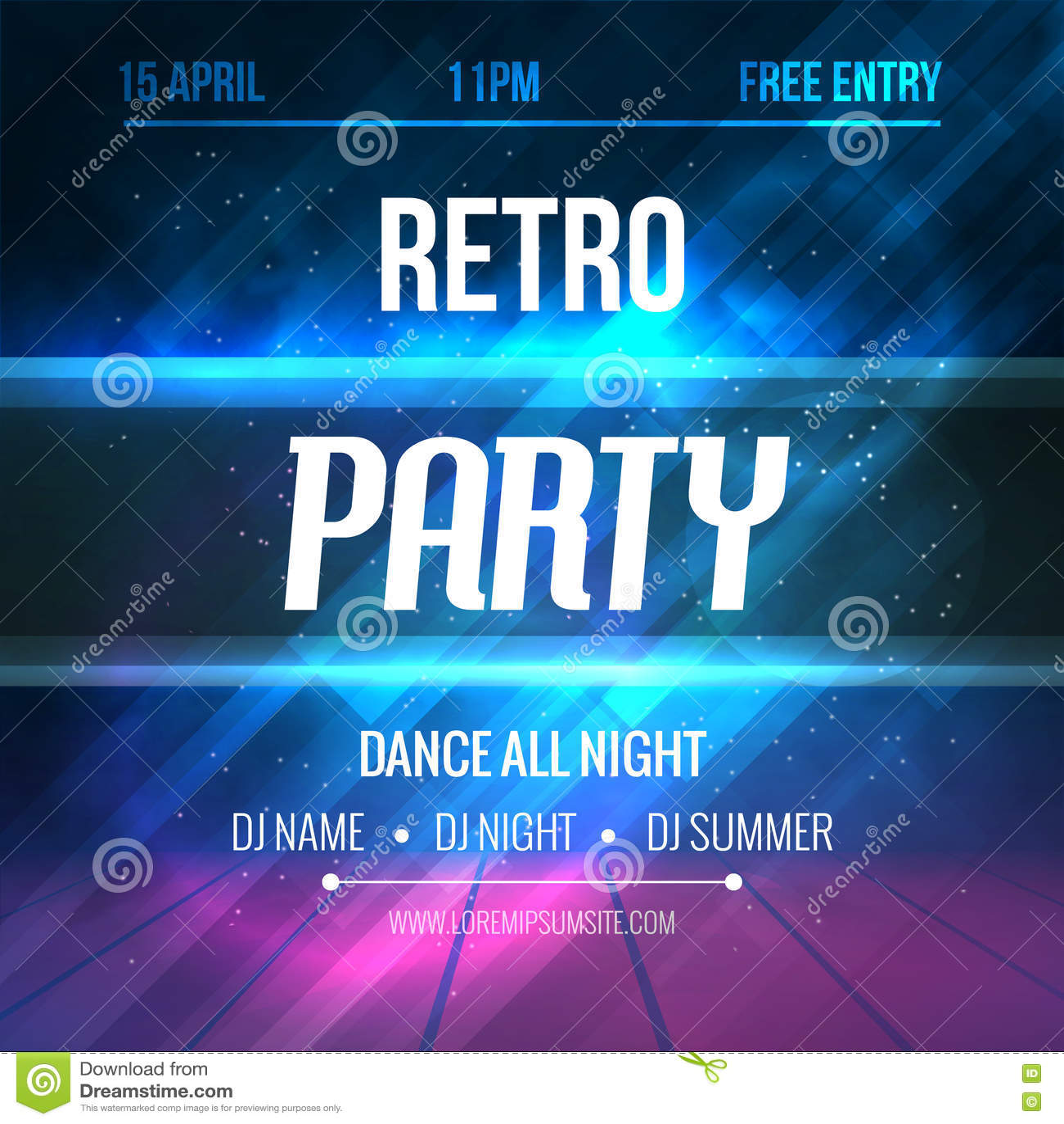 70s poster design template - Dance Retro Party Poster Template Night Retro Dance Party Flyer Club Party Design Template