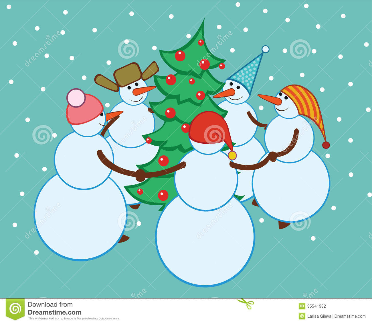 Dance Snowmen Around The Christmas Tree Stock Photography - Image ...