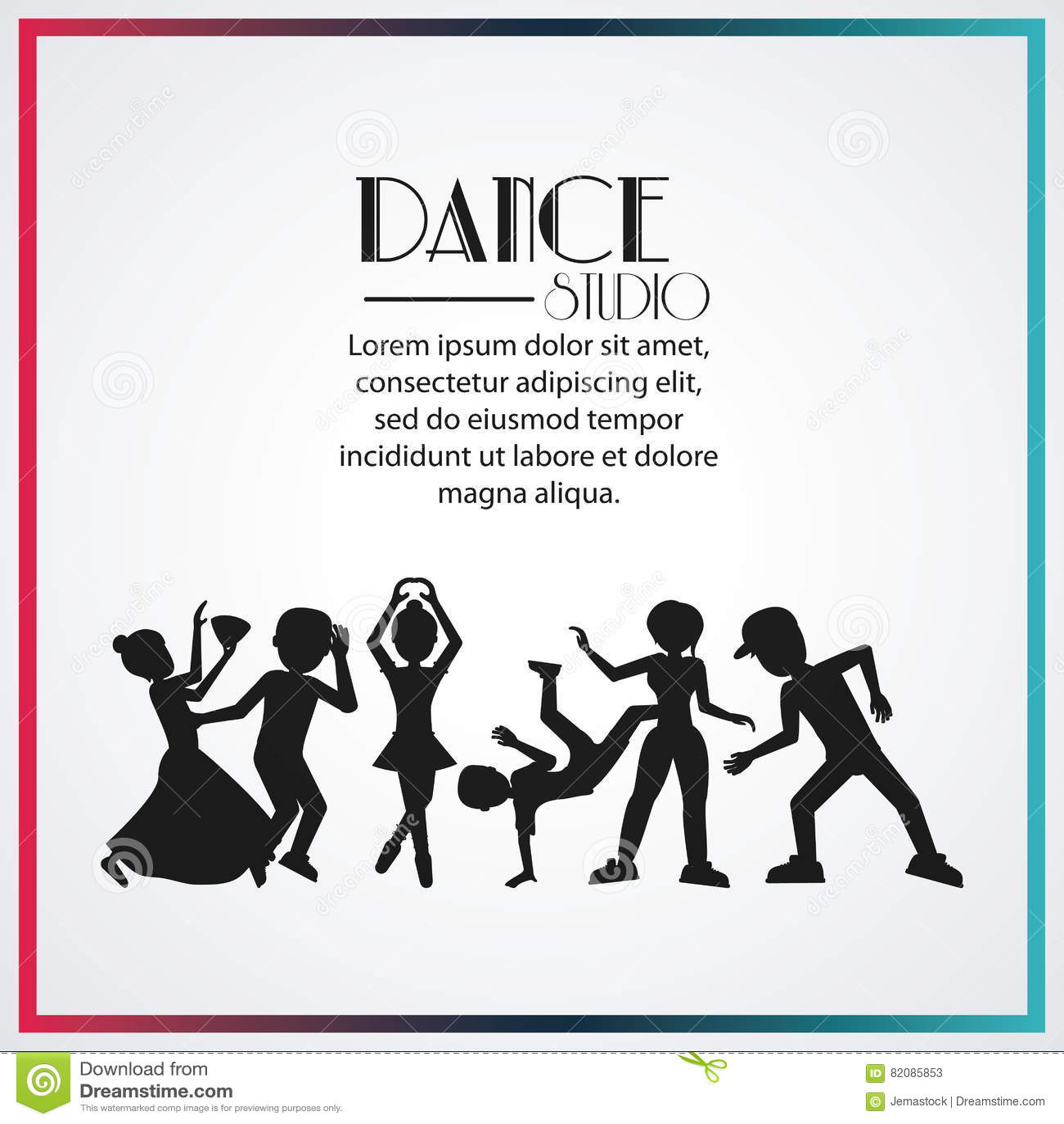Dance Studio Avatar Dancer Design Stock Vector - Illustration of ...