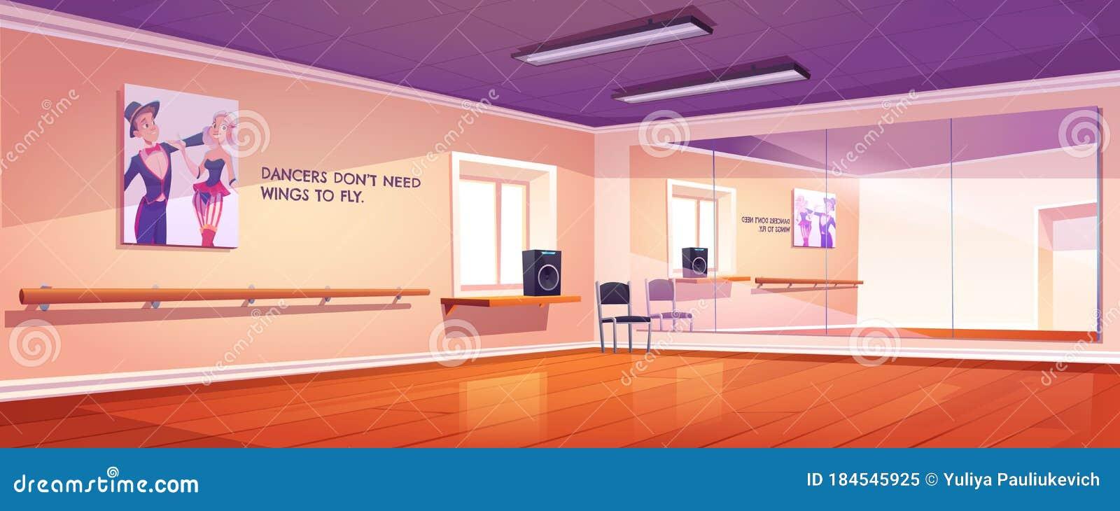 Dance Studio Ballet Class Interior With Mirrors Stock Vector Illustration Of Design Dancing 184545925