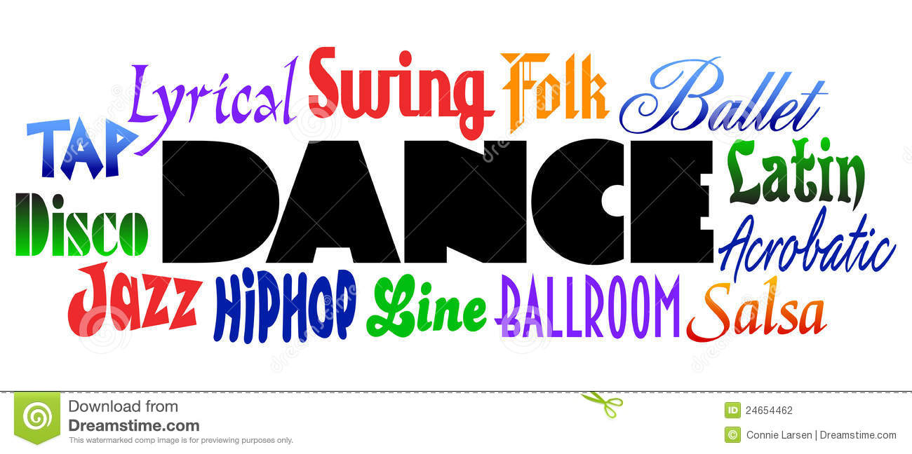 Bold headline DANCE with various dance styles surrounding it in bright ...