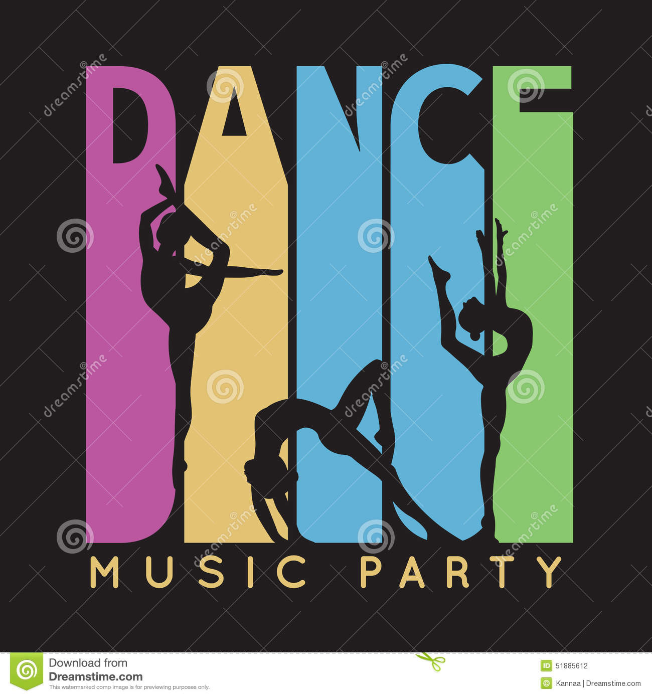 2b9fcc99 Dance typography, t-shirt graphics. Vector illustration for fashion design.  Music party flyer with pretty girl dancer silhouette.