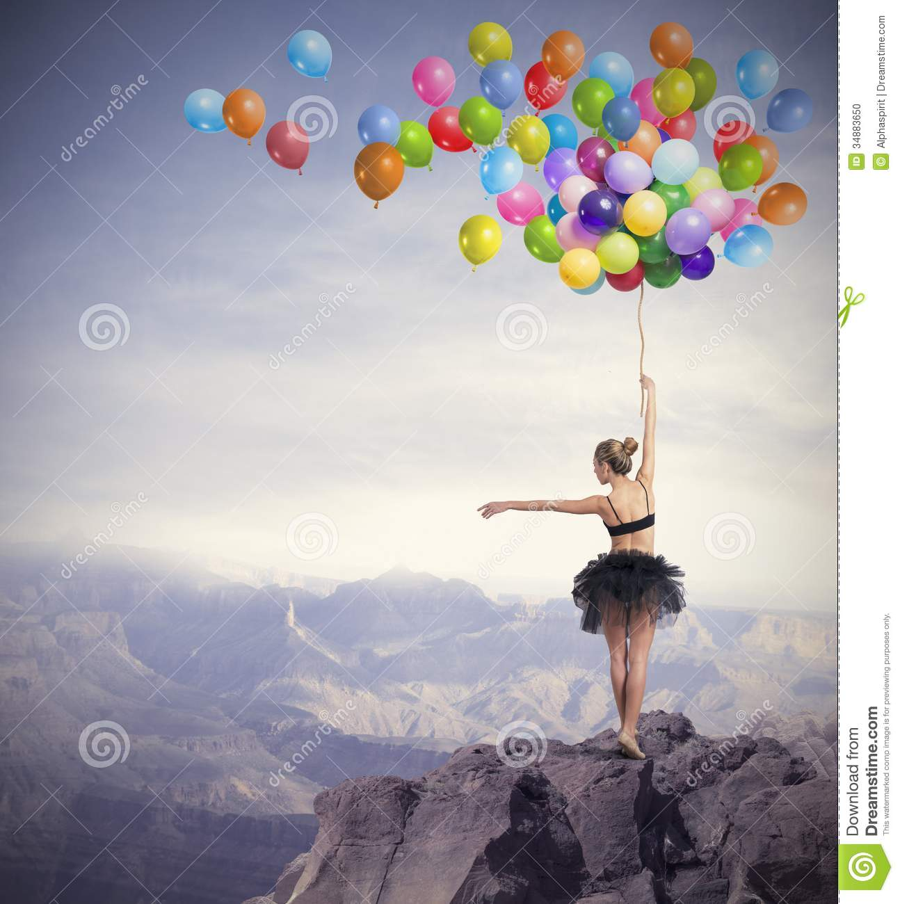Dancer with balloons stock photo image 34883650