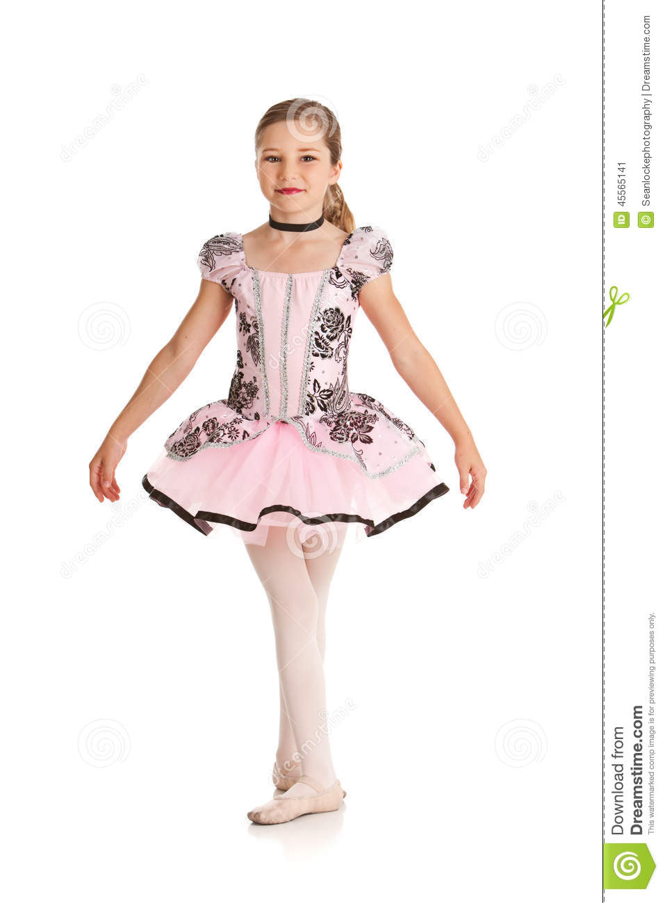 Cute Dance Outfits Dancer Girl Dressed Ballet Costume Isolated White Series Cute Young Caucasian ...