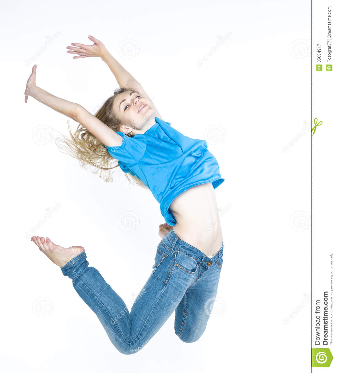 Girl dancing on a white background in a purple shirt and ... |Dancing Jean Shorts