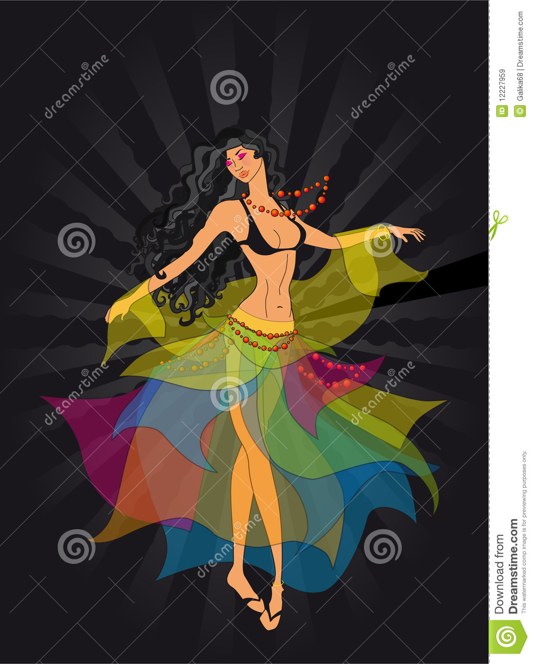 Dancer, a gypsy stock vector. Illustration of hair ...