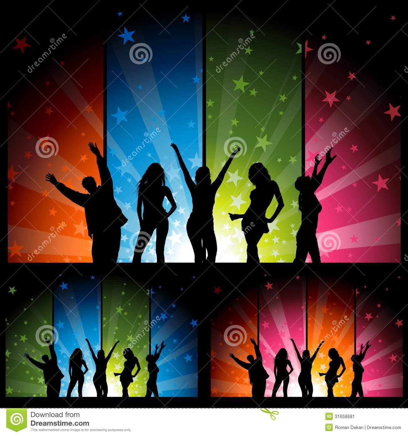Dancers and colorful star burst banners stock vector for 123 get on the dance floor song download