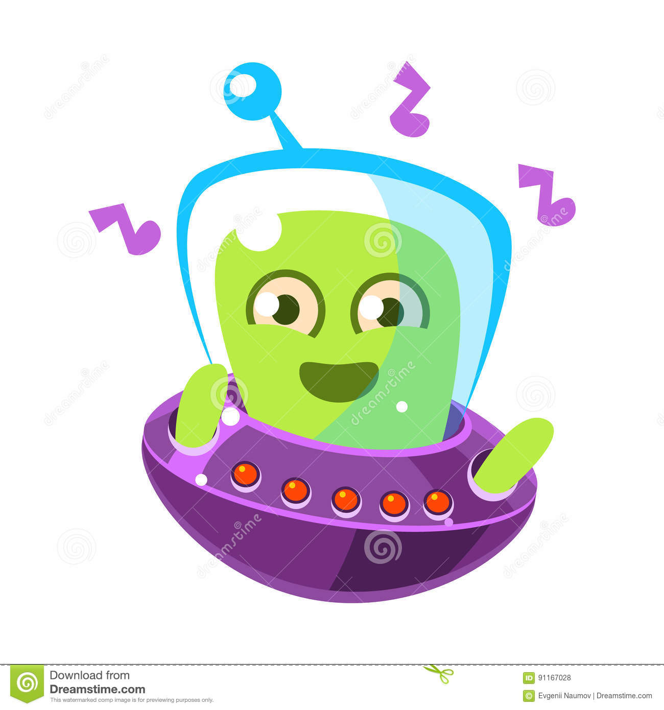 dancing alien in a flying saucer cute cartoon monster colorful