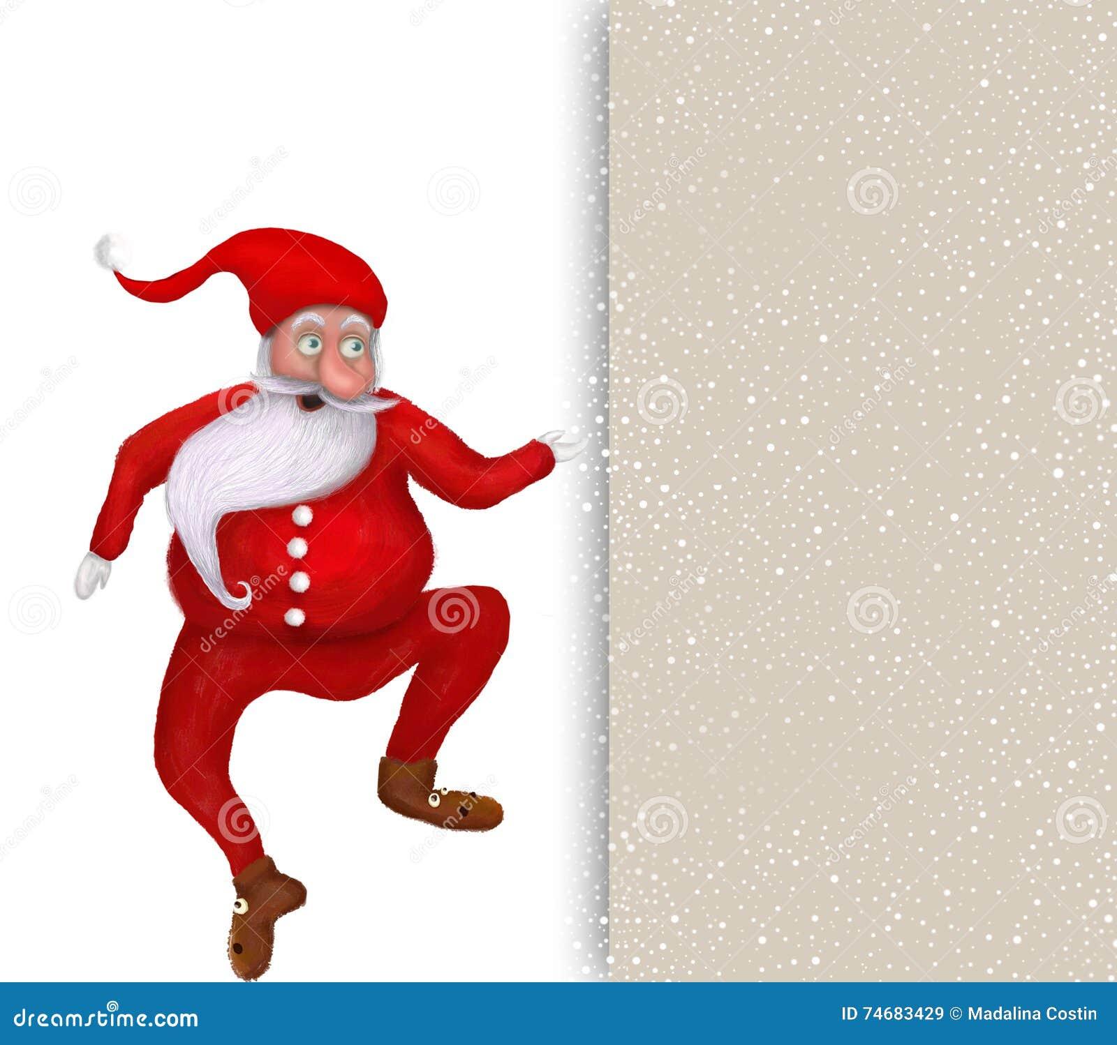 Dancing Christmas Santa Claus Over Blank Greeting Card Stock ...