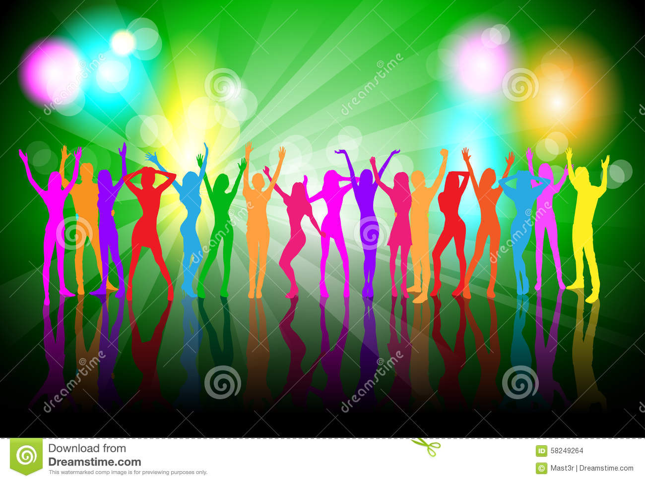dancing colorful people silhouettes girls dance stock