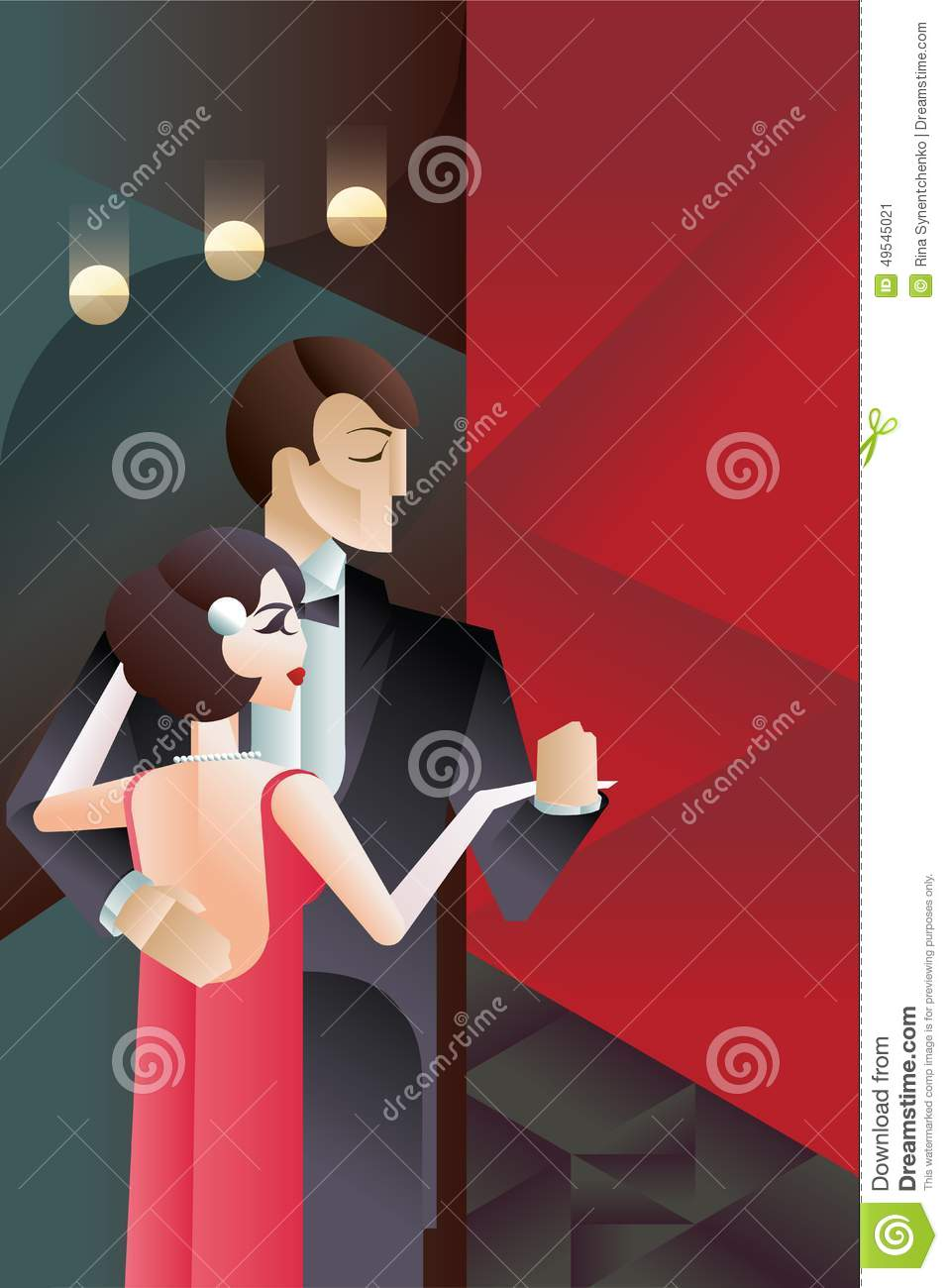 Dancing couple art deco geometric style poster stock for Style retro deco
