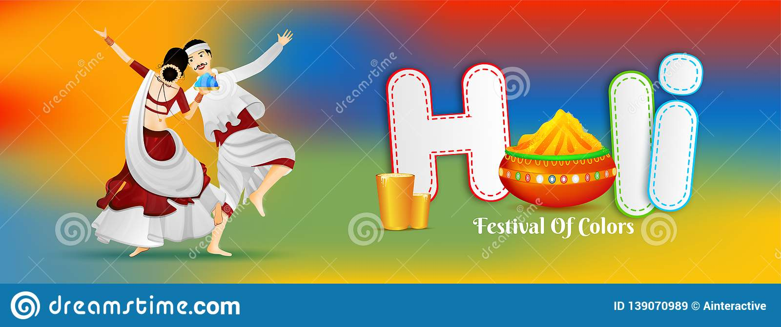 Dancing Couple Character With Paper Text Holi And Color Pot On Glossy Colorful Background Stock Illustration Illustration Of Dancing Header 139070989