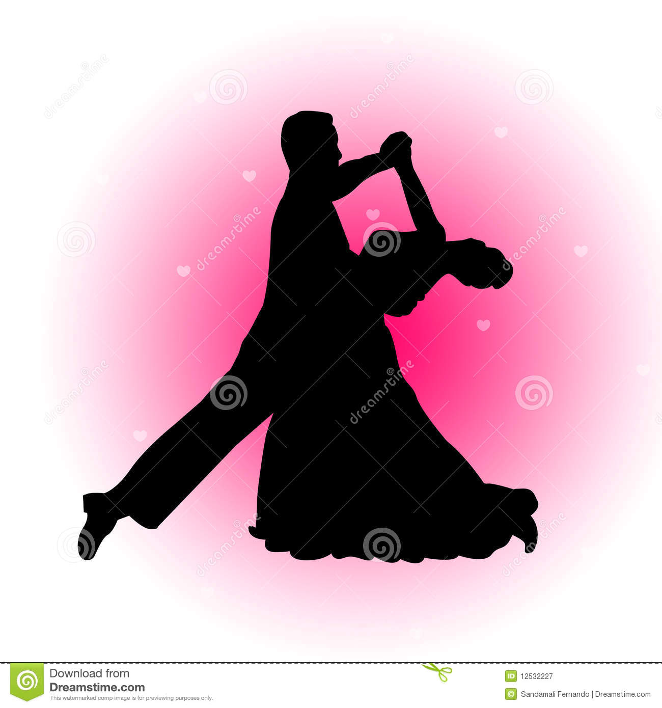 Dancing Couple With Hearts Background Stock Vector