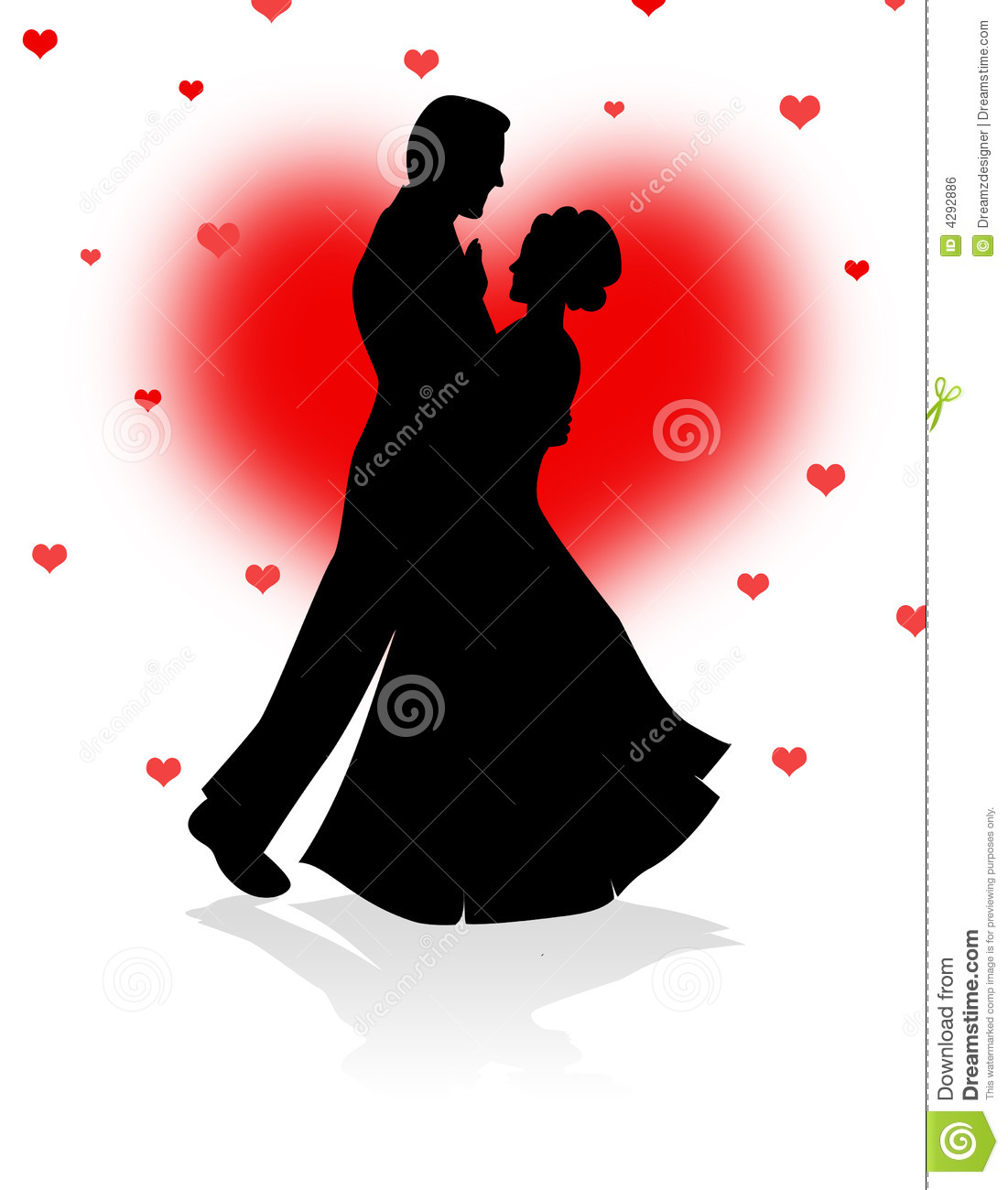 Dancing Couple With Red Hearts Background Royalty Free Stock Image ...