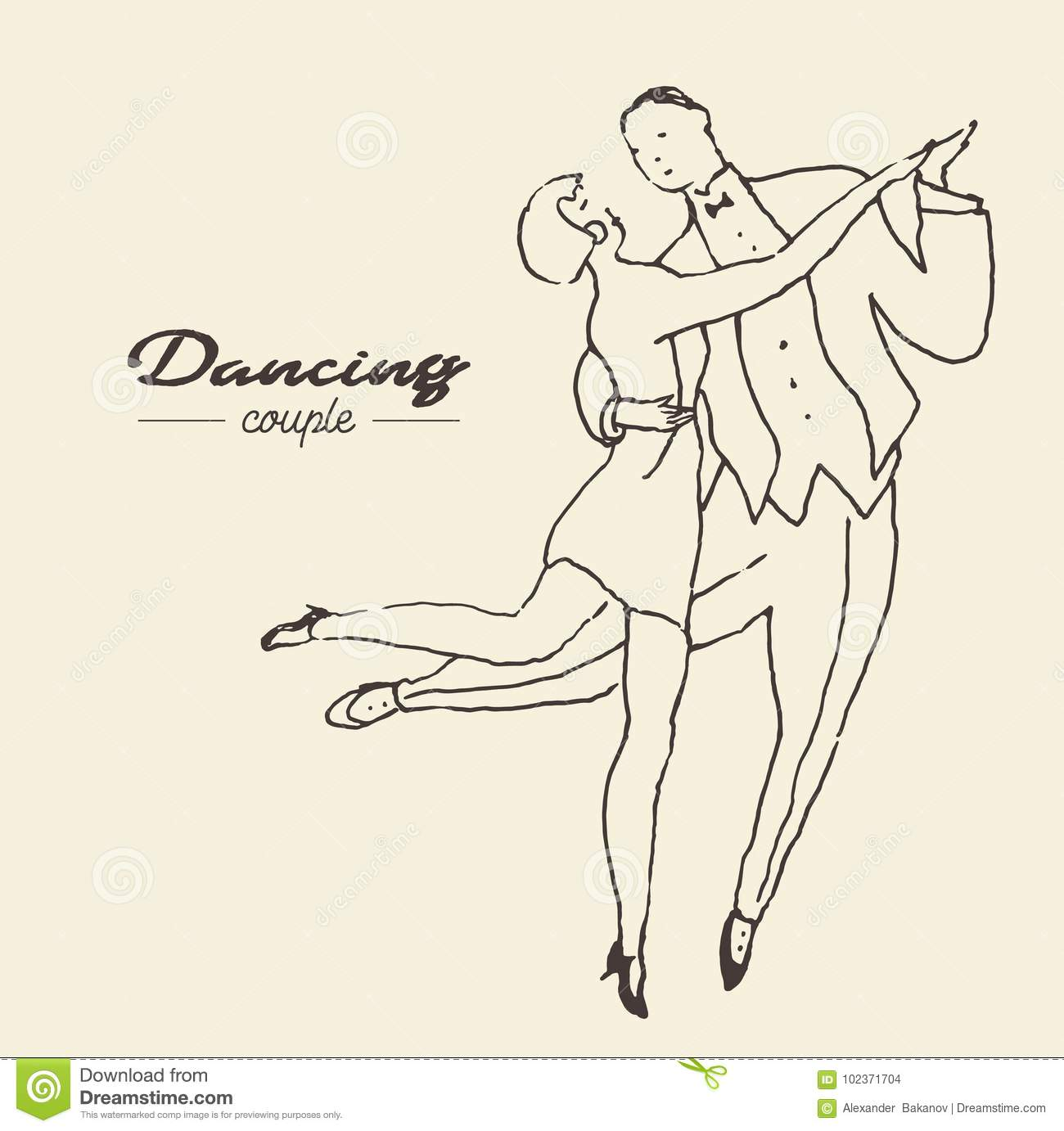 Dancing couples hand drawn vector illustration sketch